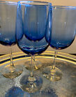 VNTG SET 4 Cobolt Blue TALL GLASS WINE GOBLETS 16 Oz Gorgeous