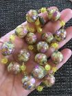 Vintage Venetian Murano Deco Wedding Cake Gold Fleck Glass Beads Necklace