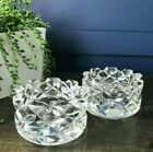 Pair ORREFORS Sweden Sofiero Crystal Criss Cross Art Glass Candle Holders Signed