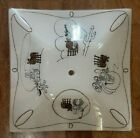 Vintage Glass Ceiling Light Shade Square Fixture 16 Western Art Cowboy Horse