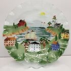 Fused Glass 11 Ruffled Serving Bowl With lighthouse