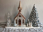Christmas Porcelain Trees, Lighted Church and Carrollers on Base, Four Pieces