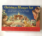 1950s Christmas Manger Set No 743 COMPLETE Paper Cardboard Cut Out Nativity
