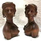 Vintage Carved Walnut Native Couple With Jewelry Busts Pair