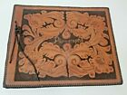 Leather Cover Tooled Etched Scrap Book Photo Album Floral Laced Edges 14 X 12