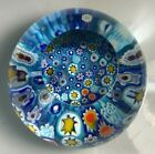Millefiori Art Glass Paperweight Blue Multi Color Floral Faceted Top
