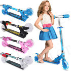 Folding Kick Scooter Kids+LED Light Up Wheels Adjustable Height Girls Boys Gift