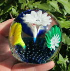 Pretty Vintage Handblown Fused Glass  Controlled Bubble Floral Paperweight
