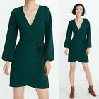 NWT Womens MADEWELL Smoky Spruce Green Faux Wrap Dress Size Medium M