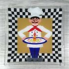 Peggy Karr Pastry Chef Baker Checker Platter Tray Signed Fused Art Glass HTF