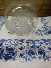 Vintage Clear Glass Hurricane Lamp Shade Globe with White Roses 4 Fitter