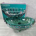 12 Oval Fruit Bowl Footed CARNIVAL GLASS Grape Harvest Iridescent Blue with Box