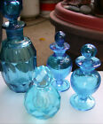 4X Vintage Blue Hand Cut Blown Faceted Glass Perfume Bottles IWRice