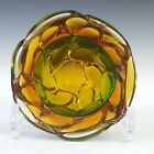 Murano Green  Amber Sommerso Glass Textured Geode Bowl