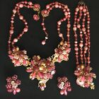 Vintage Signed Miriam Haskell Pink Ruby Art Glass Necklace Bracelet Earrings Set