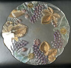 MIKASA CHABLIS GLASS Cheese Serving PLATTER PLATE w FRUIT Grapes  LEAVES 13