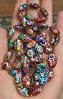 Vintage Millefiori Glass Graduated Knotted Beads Beaded Necklace 295 Italy