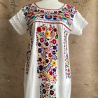 Mexican Tunic Dress Floral Embroidered Peasant Dress Lightweight Cotton Lace