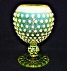 IMPERIAL GLASS EARLY AMERICAN HOBNAIL DEWDROP TOPAZ OPALESCENT IVY BALL VASE