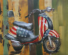 3D painting metal 80 x 100cm Scooter Vespa Bike Moped Hand Made Decor Gift