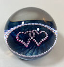Caithness Glass Paperweight Scotland Entwined Hearts Blue Pink Millefiori