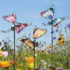 Garden Stake Butterfly Outdoor Yard Lawn Decor Patio Pathway Porch Glass  Metal