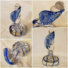 Rare Vintage Hand Blown Art Glass Swirled Perfume Bottle w Leaf Stopper 6 Tall