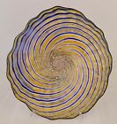 Hand Blown Glass Art Wall Platter Bowl Swirled Oneil 1834