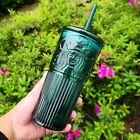 NEW Starbucks Green Glass Sippy Bottle Straw Cup Tumblers Limited Edition 550 ml