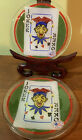 Set Of 2 Peggy Karr Fused Art Glass Joker Playing Card Plates 575 W 2002