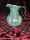 Fenton Spruce Green Overlay Pitcher Diamond  Floral B Fenton 75th Year Signed