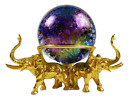 1996 GES Glass Eye Studio Glass 96 Paperweight Signed Gold Pewter Elephant Stand