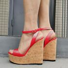 Women Sandals Platform Wedges Ankle Strap Pumps Height Increase Shoes Woman
