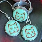 Cute Vintage Glass Cat Button Handmade Sterling Silver Earrings  Ring 65 A13f