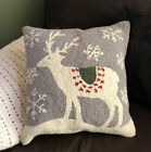 Hooked Wool Deer  Snowflake 18 Complete Pillow Gray Ivory Christmas Holiday