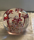 Large Glass Paperweight Frit Red  White Flowers  Controlled Bubbles Multicolor