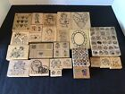 LG LOT 92 PC WOODEN BLOCK RUBBER STAMPS DOTS  OTHERS CRAFT SCRAPBOOKING