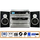 Trexonic 3 Speed Turntable 11BS Record Player CD Dual Cassette Bluetooth USB FM