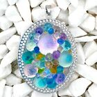 Fused Dichroic Art Glass Jewelry Large Oval Pendant Multi Color Beads Bobbles