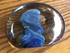 Beautiful Vintage Art Glass Paperweight Blue  Green Canyon Signed Buzz Williams
