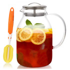 Tea Spout Pitcher Glass Hot Coffee Cold Water Large Lid Jug Punch Stovetop Safe