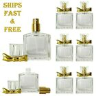 Empty Thick Glass Perfume Bow Cap Bottles 30ml 1oz Gold Atomizer High Quality