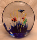 Large Vintage Murano Style Glass Tropical Fish Seahorse Aquarium Paperweight