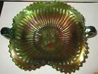 Smooth Rays Butterfly Carnival Green Antique Bon Bon 2 Handled Glass Dish