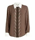 CHLOE BROWN POLKA DOT AND PAISLEY BLOUSE SIZE 40 COST 750 IN HARRODS BNWT