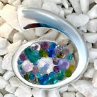 Fused Dichroic Art Glass Jewelry Large Swirl Oval Pendant White Multi Color