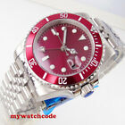 40mm BLIGER red dial GMT sapphire glass date window automatic mens watch