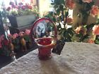 FENTON RED CARNIVAL GLASS BASKET WITH ORIGINAL TAG CELEBRATING 100 YEARS