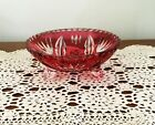 Ruby Red Cut to Clear Bohemian Crystal Footed Bowl