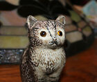 CAST IRON PAINTED ANTIQUE KITTY CAT BANK W YELLOW GLASS EYES FREE SHIPPING 48